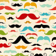 Mustache seamless pattern in vintage style — Stock Vector