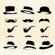 Vintage set, with mustaches, hats and one pipe — Stock Vector