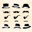 Vintage set, with mustaches, hats and one pipe — Stock Vector #23755877