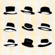 Stock Vector: Vector Collection of Vintage Hats