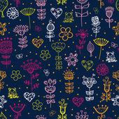 Cute cartoon floral seamless pattern — Stock Vector