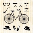 Set of the hipster with bicycle — Stock Vector