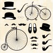 Set of the gentleman and bicycle — Stock Vector
