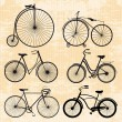 Set of bicycles in vintage style — Stock Vector