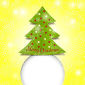 Merry christmas papier groene boom — Stockvector