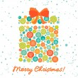 Greeting card with christmas gift — Imagen vectorial