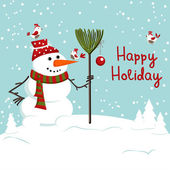 Christmas decoration with snowman — Stock Vector