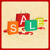 Shopping bags and sale text in vintage style — Stock Vector