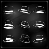 Chalkboard hipster hat collection — Stock Vector