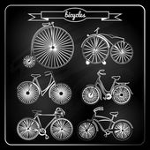Set of bicycles in vintage style — Vettoriale Stock