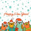 Christmas background with funny owls — Image vectorielle