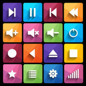 Set of media player buttons in flat design style. — Stock Vector