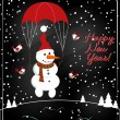 Christmas chalkboard decoration with snowman — Stock Vector