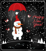 Christmas chalkboard decoration with snowman — Stock vektor