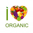 I love organic food an illustration. — Stock Vector