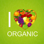 I love organic food an illustration — Stock Vector