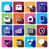 офисные и бизнес плоским иконки для веб-сайтов. — Cтоковый вектор