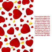 Cartão de convite de corações e seta. — Vetor de Stock