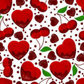 Hearts and cherry in chocolate, seamless pattern — Vettoriale Stock