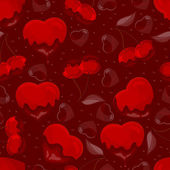 Hearts and cherry in chocolate, seamless pattern — Stock vektor