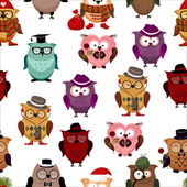 Seamless pattern with funny owls. — Stock vektor