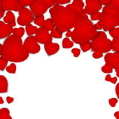 Festive background with red hearts — Vettoriale Stock