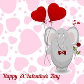 El elefante desea feliz día de San Valentín. — Vector de stock