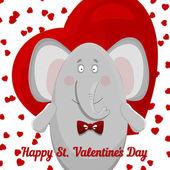 The elephant wishes happy Valentine's day. — Cтоковый вектор