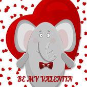 The elephant wishes happy Valentine's day. — 图库矢量图片