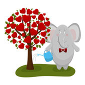 The elephant waters a love tree — Stock Vector