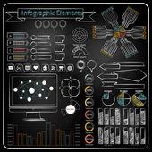 Chalk board doodle web charts vector — Stock Vector