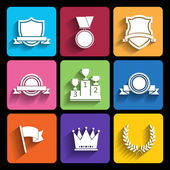Trophy and awards icons set in flat style — Stock Vector