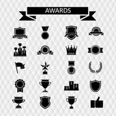 Awards and trophies set of icons. — Stock Vector