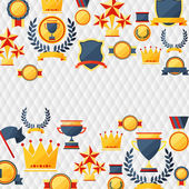 Awards and trophies icons background. — Stock Vector