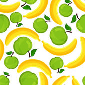 Seamless pattern of bananas and apples. — Stock Vector