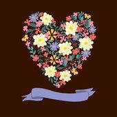 Blommigt hjärta kort. söta retro blommor. — Stockvektor