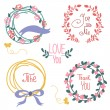 Stock Vector: Wedding graphic set, wreath, flowers, arrows