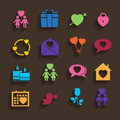 Love icons set in flat style. — Stock Vector