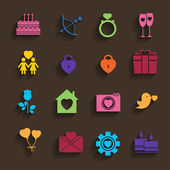 Love icons set in flat style. — Stock vektor