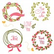 Wedding graphic set, wreath, flowers, arrows — Stock Vector