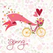Bicycle with a basket full of flowers. — Stock Vector #41516545