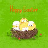 Mutlu Paskalya kartı şablonu, sepet yumurta ve — Stok Vektör
