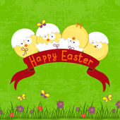 Happy Easter card template, basket with  eggs — 图库矢量图片