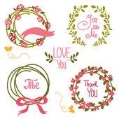 Wedding graphic set, wreath, flowers, arrows — Stock Vector