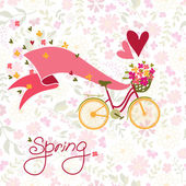 Bicycle with a basket full of flowers. — Vector de stock