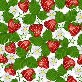 Seamless pattern from blossoming  strawberry. — Stock Vector
