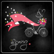 Bicycle with a basket full of flowers. — Stock Vector #41617759