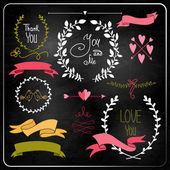 Wedding graphic set on chalkboard. — Stock Vector