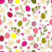 Seamless pattern from eggs and flowers. — Stock Vector