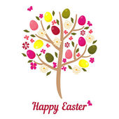 Easter tree with eggs and flowers. — Stock Vector